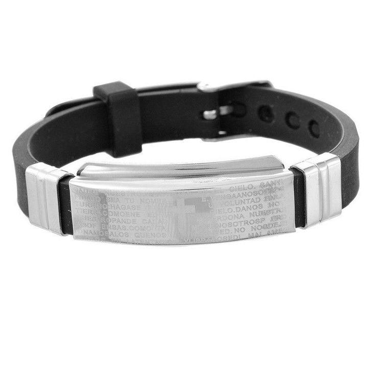Fashion Stainless Steel Silicone Bracelets & Bangles Polished Bible Religion Genuine Silicone Bracelet Adjustable Men Jewelry jesus