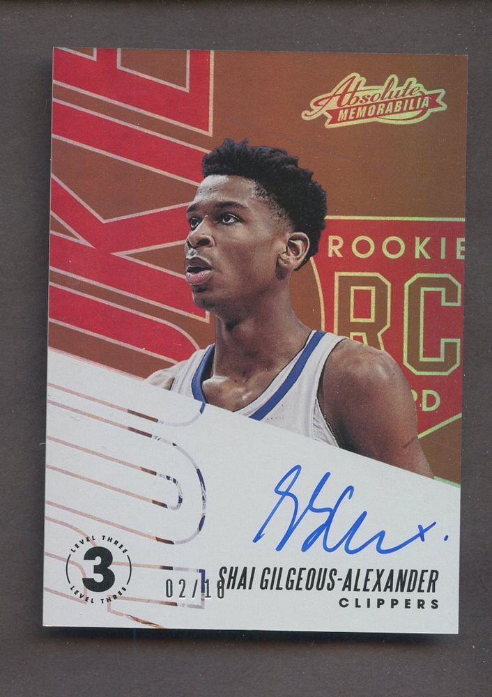 2018-19 Absolute Level 3 Shai Gilgeous-Alexander Clippers RC AUTO 2 ... 687db946a