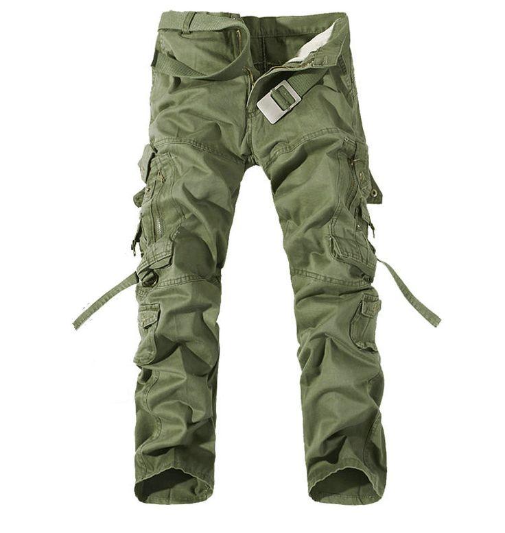 Top Fashion Casual Men Pants Slim Fit Multi-Pocket Cargo Pants Men