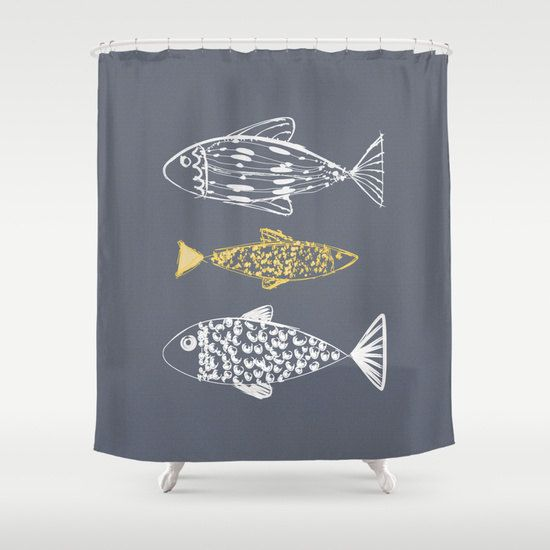 Fish Shower Curtain gray shower curtain, bathroom shower curtains, bath decor,  beach cottage NAUTICAL BATHROOM, nautical modern bath decor - $84