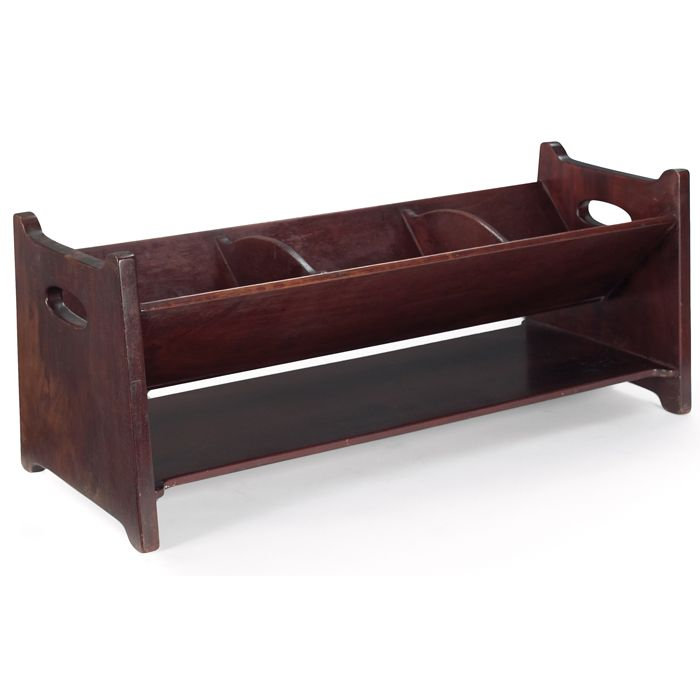 "Stickley Brothers book rack in mahogany, slotted ""V"" trough form with hand-hold cut outs, 24""w x 10""d x 10""h"
