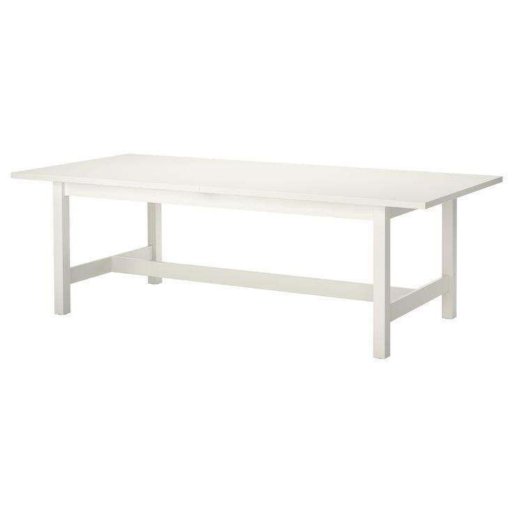 IKEA - NORDEN, Utdragbart bord, Utdragbart matbord med 1 iläggsskiva; ger plats för 6-8 personer och gör det möjligt att anpassa bordets storlek efter behov.Iläggsskivan förvaras lättillgängligt under bordsskivan när den inte används.Dold låsfunktion förhindrar glipor mellan skivorna och håller iläggsskivan på plats.