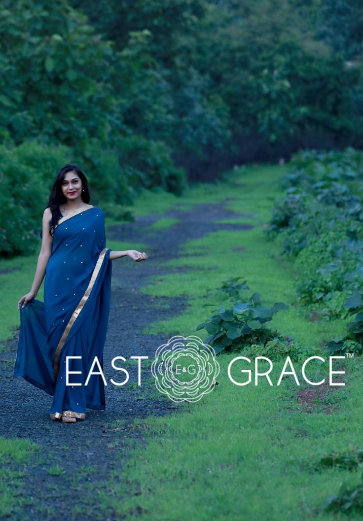 Featuring a deep sea blue-green pure silk chiffon saree with gold sequin patch border and tiny sequin clusters embroidered all over. Femme and old world charm... PRICE: INR 8,500.00; USD 128.79 To buy click here: https://www.eastandgrace.com/products/sea-blue-green For help reach us at care@eastandgrace.com. With love www.eastandgrace.com