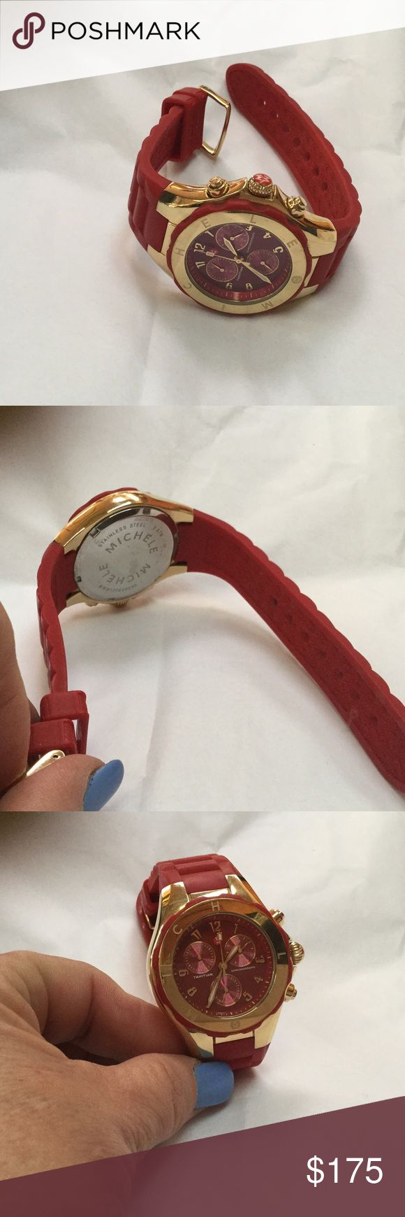 Red Michele Tahitian Jelly watch-like new. https://www.hautelook.com/events/153490/products/1194945?color=GOLD-WHITE.  This item recently Sold Out on Hautelook for $197. Sells new for almost $400! Michele Accessories Watches