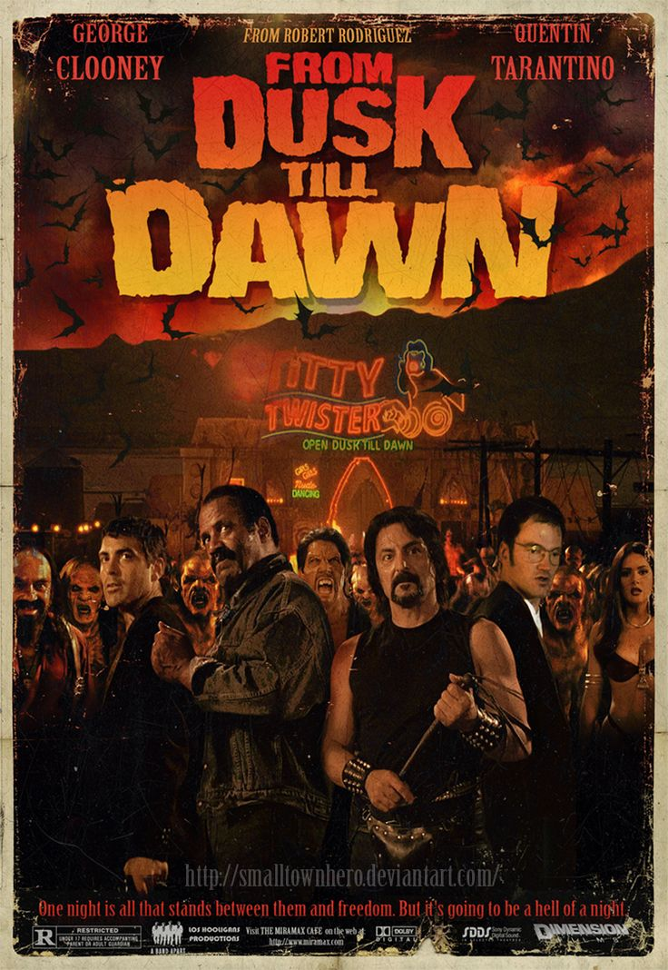 """""""From Dusk Till Dawn"""" (1996). Written by Quentin Tarantino, and dir.  by Robert Rodriguez.  A cool mashup of """"Pulp Fiction"""" and """"Night of the Living Dead""""; works as action, dark comedy or horror.  And Selma Hayek does the best erotic dance ever committed to film, so help me..."""
