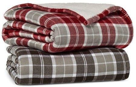 $17.49 Threshold Blanket Plaid Sherpa Throw