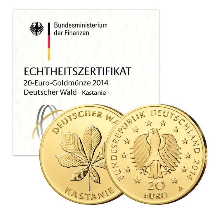 Goldmünze Kastanie 20 Euro 2014 Deutschland - Prägestätte unserer Wahl | goldankauf-haeger.de