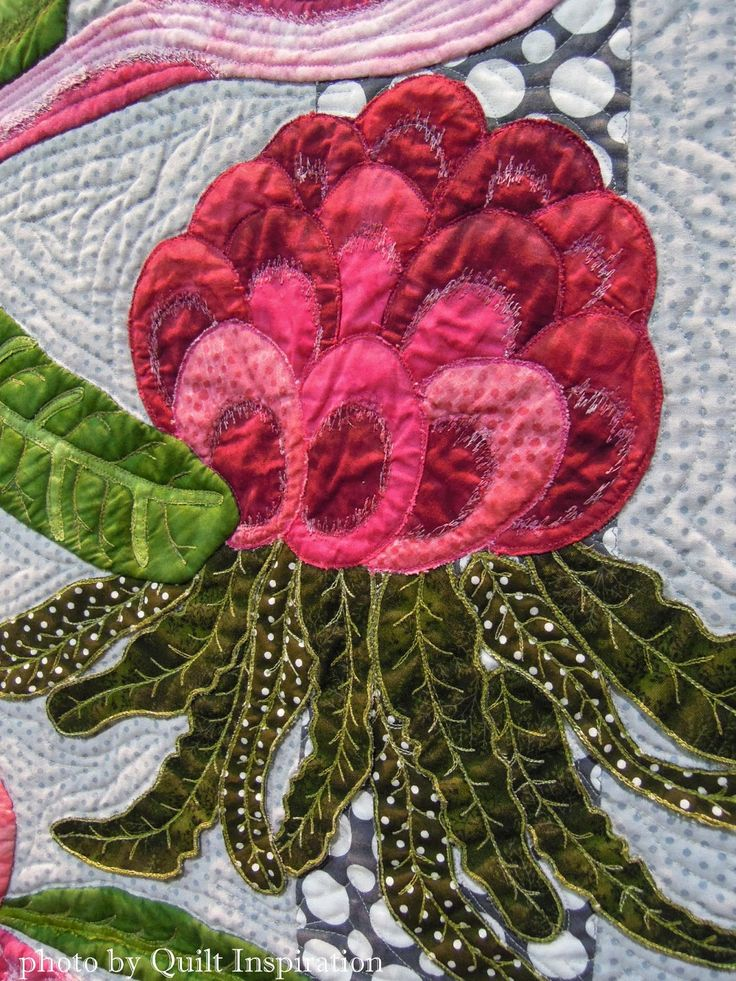 close up, Ena's Pink Waratahs by Denise Griffiths, Australia.  Photo by Quilt Inspiration