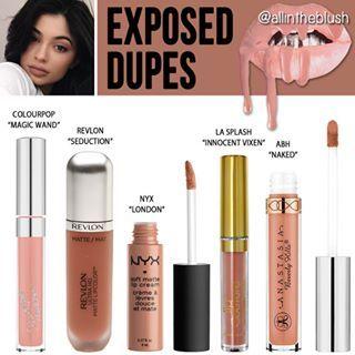 "@kyliecosmetics ""Exposed"" Lipkit Dupes More details & swatches will be on allintheblush.com tomorrow #allintheblush #makeupslaves #trendmood #vegas_nay #makeup #beauty #hudabeauty #slave2beauty #insta_makeup #norvina #glamrezy #amrezy #makeupartist #motd #mua #makeupaddict #wakeupandmakeup #kyliejenner #kylielipkit #exposed #dupes #makeupdupes"