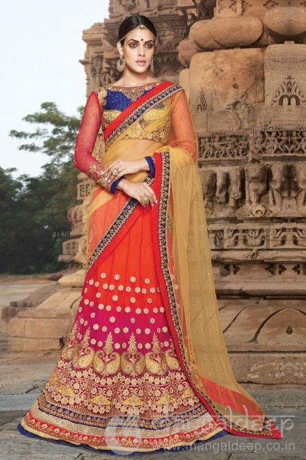http://www.mangaldeep.co.in/lehengas/auspicious-magenta-red-blue-net-designer-lehenga-choli-6633 For more details contact us : +919377222211 (whatsapp available)