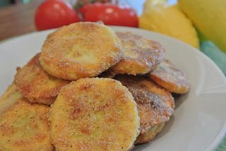 "Southern Summer Squash....tender yellow squash, lightly coated in cornmeal and oven ""fried"" until golden and crisp. A new twist on traditional fried squash."