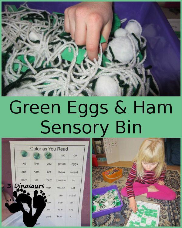 Green Eggs & Ham Sensory Bin with Free Printable - 3Dinosaurs.com