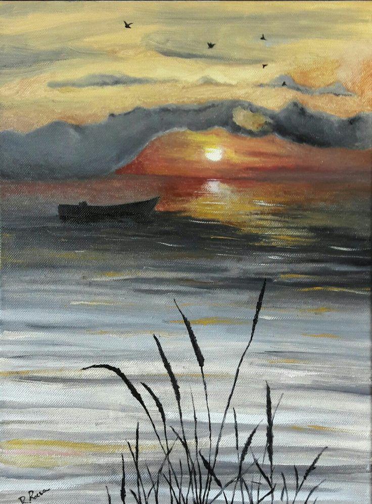 Tramonto sul Lago olio su tela 30 x 40