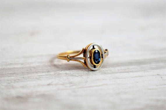 Vintage Art Deco Sapphire Halo Ring Oval Sapphire Ring Vintage
