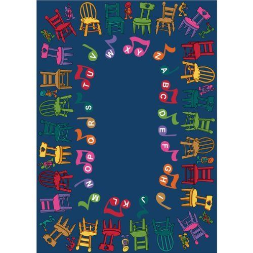"Musical Chairs School Rug - 5'4"" x 7'8"" Rectangle by Joy Carpets. $179.75. The Musical Chairs School Rug from Joy Carpets offers several opportunities for learning and fun in your classroom. Play musical chairs, sing the alphabet song, conduct music or story time -- the possibilities are endless. Constructed of STAINMASTER(r) carpet fiber with an anti-soil and antimicrobial treatment, it will stay protected against everyday spills and germs. And with its SoftFlex™ backin..."
