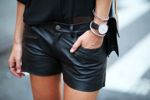 Need me some Black leather shorts.