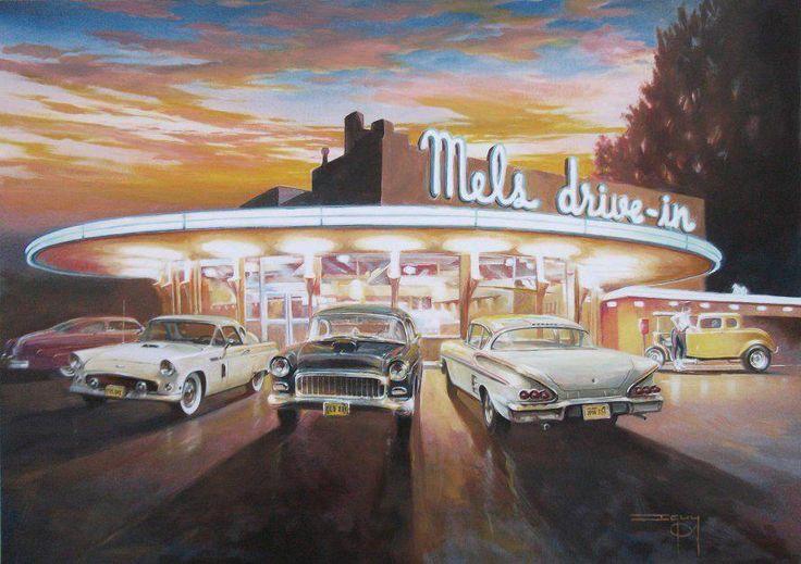 Mel's Drive In Diner - American Graffiti painting