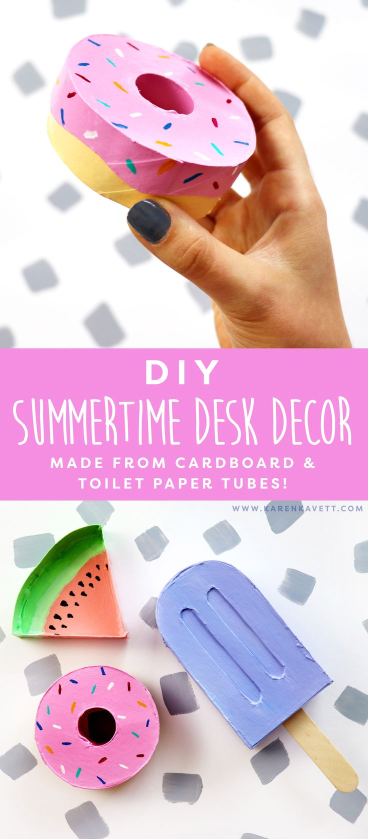 Looking to spruce up your desk? Why not incorporate summers top trends with these cute DIY ideas from Karen Kavett. These simple ideas will brighten up your office work space in no time.