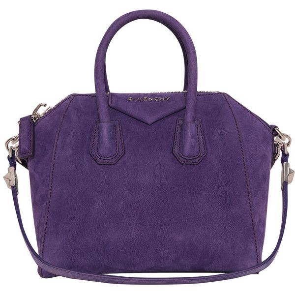 Givenchy Mini Antigona Bag ($1,813) ❤ liked on Polyvore featuring bags, handbags, bolsas, givenchy, purses, purple, shoulder strap purses, real leather handbags, mini purse and leather handbags
