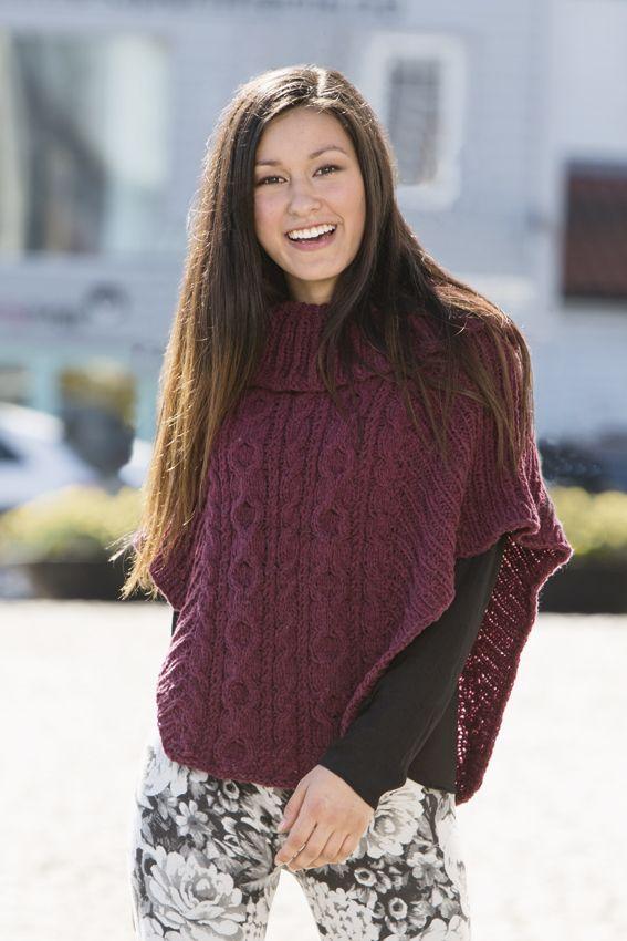 Poncho designed in camel yarn