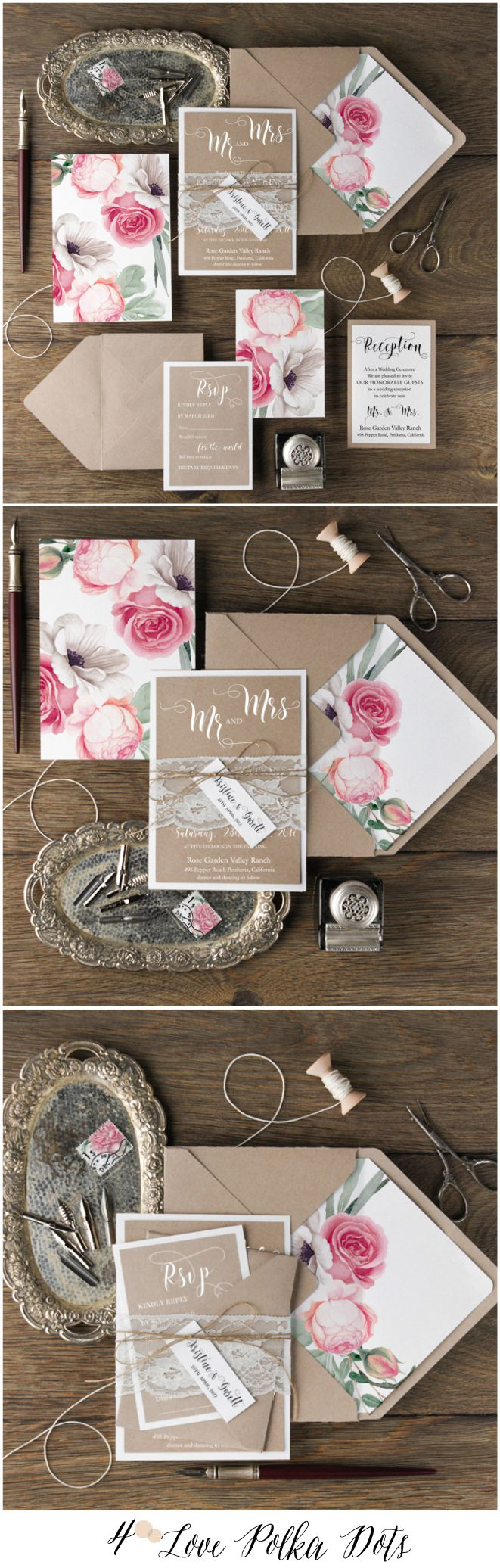 Eco Rustic Lace Wedding Invitations with Peonies