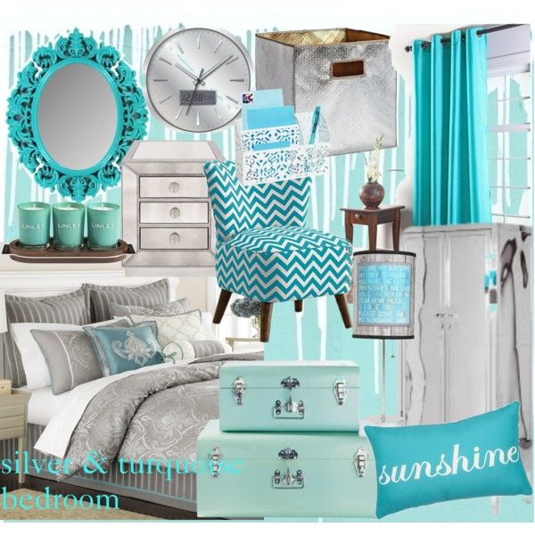 turquoise comforter set | Silver and Turquoise Bedroom - Polyvore ...