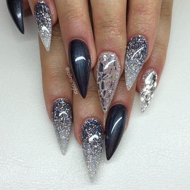quotmetallic greyquot silverflakes och glitterombre nails