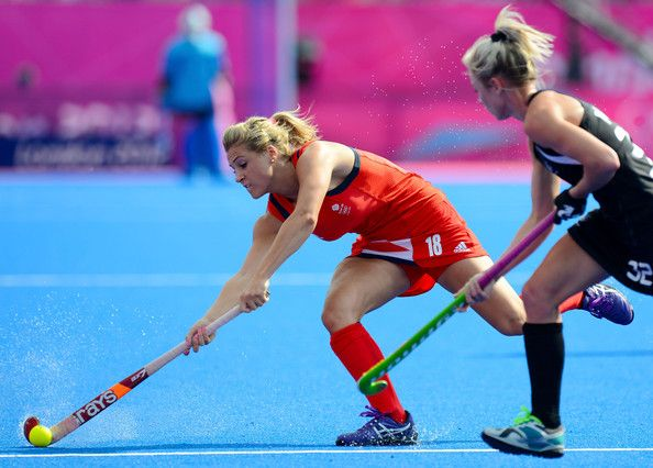 Georgie Twigg  of Great Britain controls the ball against Anita Punt  of New Zealand during…