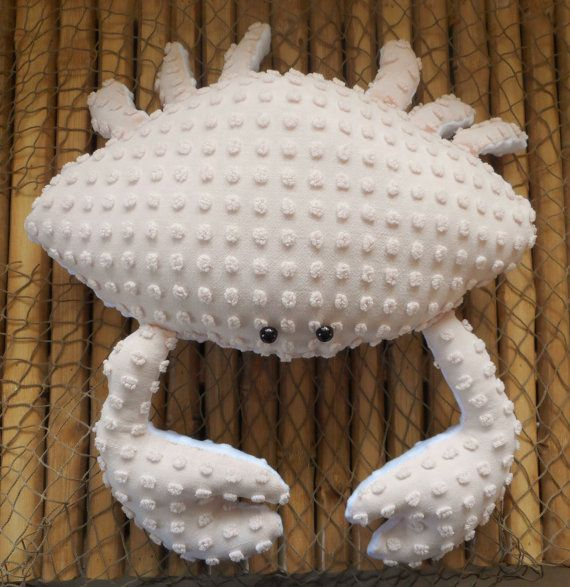 Chenille crab pillow is made from a vintage pale pink chenille pops bedspread and a very soft white minky dot fabric. This little fellow measures