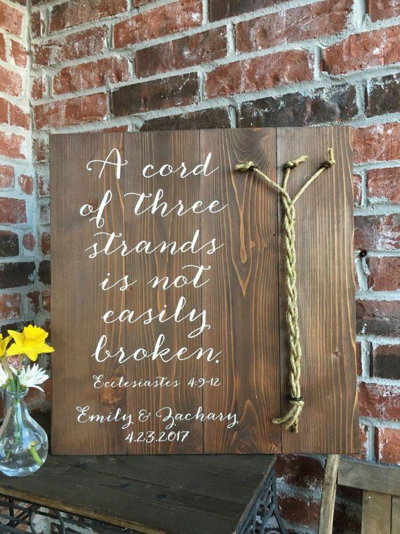 A Cord of three strands Ecclesiastes 4:9-12 MEDIUM STAIN