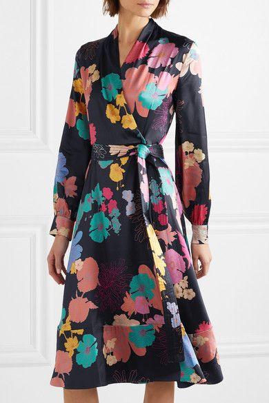 Stine Goya - Reflection Floral-print Silk-blend Charmeuse Wrap Dress ... 05a6a448996