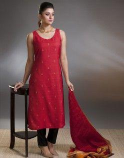 Tussar Cotton Dobby Aari Embroidery Back Tie Long Kurta. fabindia