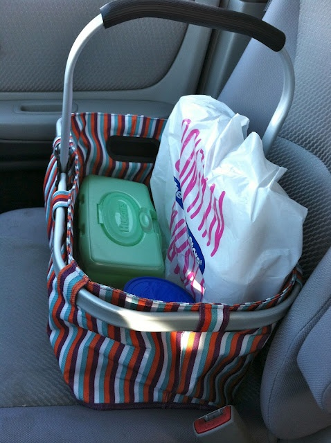 Organized car: thinking most of the stuff in the diaper bag doesn't have to be lugged around everywhere. Or back into the house every trip. Just small trip necessities and leave the rest in the car.