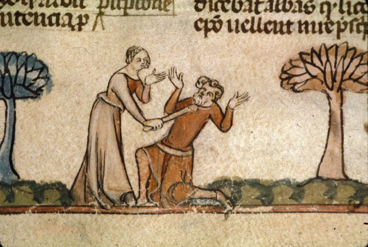 Woman hitting a man with a stick Royal 10 E IV f.148 [Calendarium, Decretals of Gregory IX with glossa ordinaria (the Smithfield Decretals) - Edited by Raymund of Peñafort, with gloss of Bernard of Parma - Last quarter of the 13th century or 1st quarter of the 14th century]