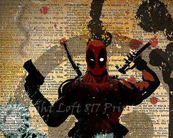 Deadpool Poster - Deadpool Wandkunst - Vintage Wörterbuch print - Superheld