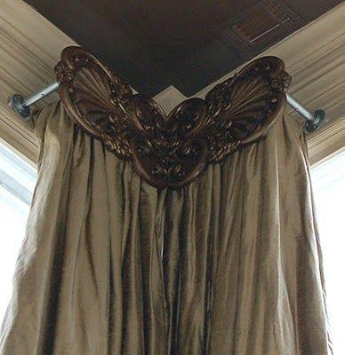 Corner window drapery  Custom Carved Drapery Hardware: