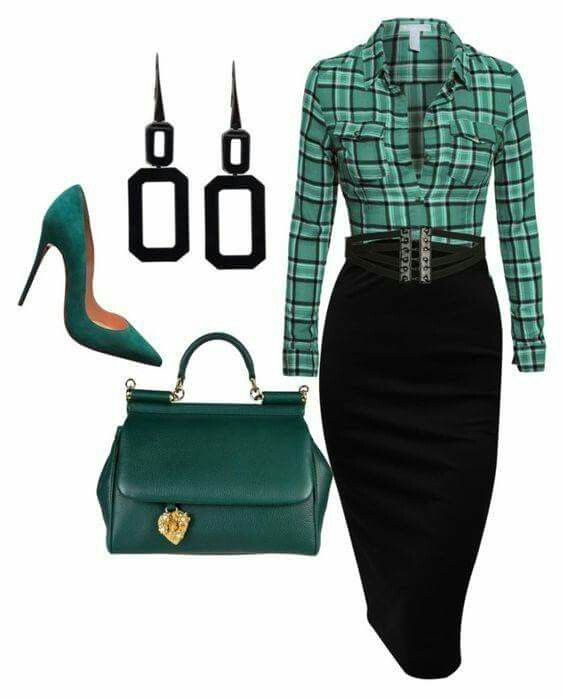 Black and Green corporate Slytherin Green blouse, heels, purse and black pencil skirt