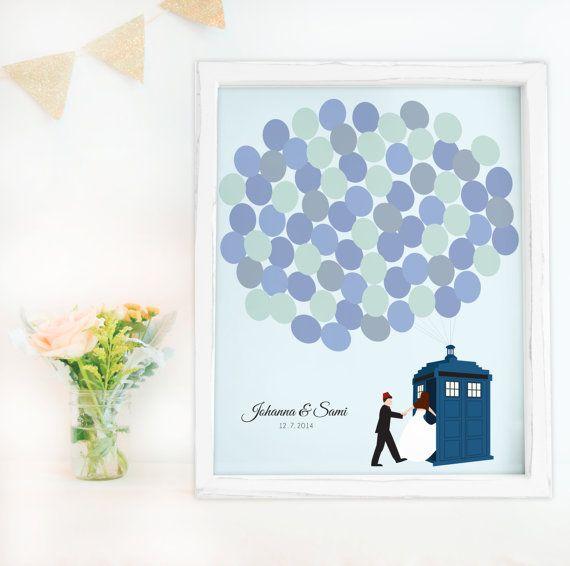 Guest book alternative for Dr Who wedding  Tardis by MDBWeddings