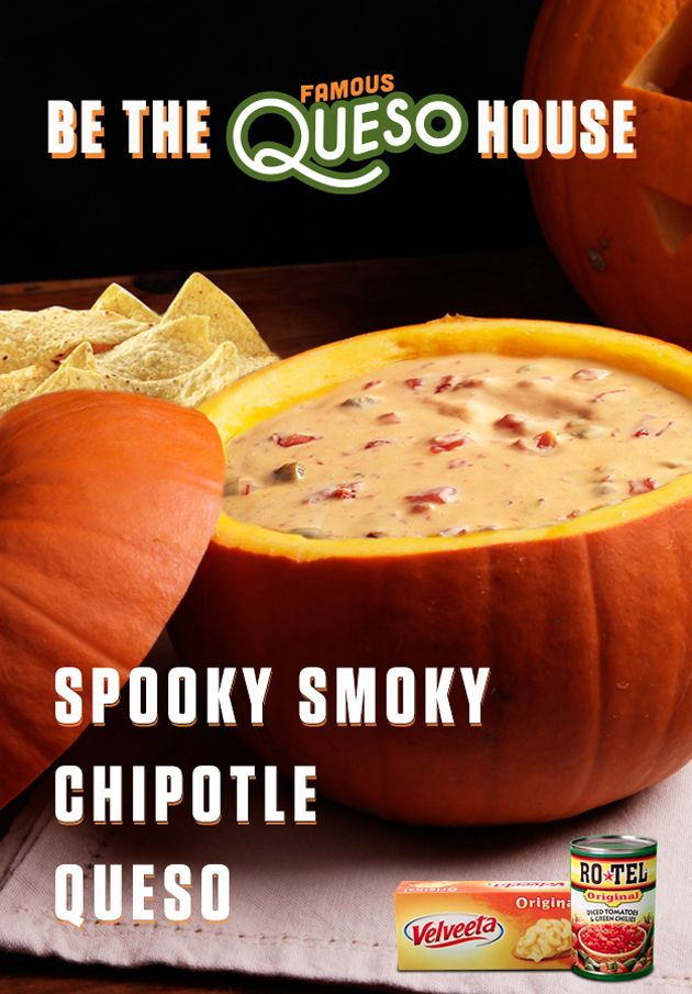 This delicious Spooky Smoky Chipotle Queso dip will turn a boring house into a tasty Famous Queso House with the delicious combo of RO*TEL's diced tomatoes and spicy green chilies and the melty goodness of VELVEETA! Get the full recipe at www.quesoforall.com