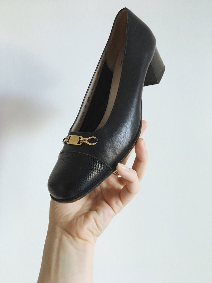 Vintage Salvatore Ferragamo Block Heel Pumps http://etsy.me/2mKZRVQ #clothing #shoes #women #blue #gold #navy #pumps #heels #ferragamo
