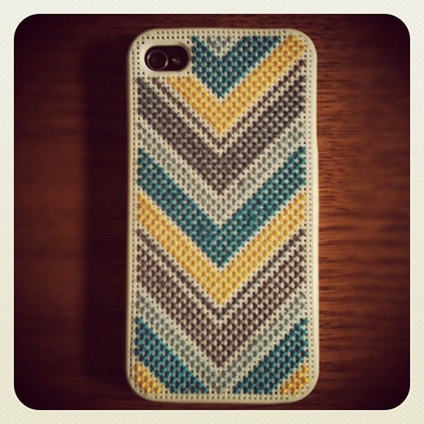 Or maybe one like this. It's a snug fit on the iPhone 3s. Not sure it will still fit once completed. Cross stitch phone case. by Deucecities Henhouse, via Flickr