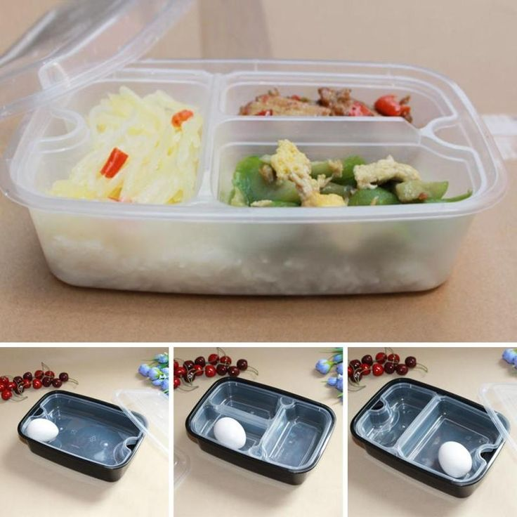 10pcs 1500Ml Disposable Lunch Boxes Food Container Snack Packing Boxes Microwaveable PP operated Case Kitchen  microwave oven 3
