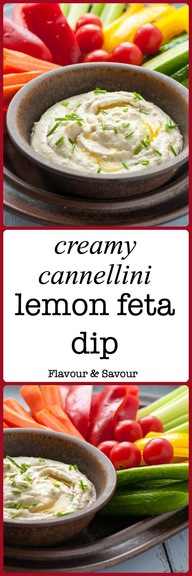 Pin this Creamy Cannellini Lemon Feta Dip recipe for your next get-together or holiday party. It's similar to hummus, but made without chickpeas! Blend white beans (cannellini beans) feta, and lemon together to make this popular healthy dip for veggies, pita bread or crackers. |www.flavourandsavour.com