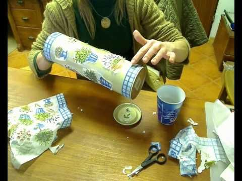 Decoupage wine bottle can - YouTube