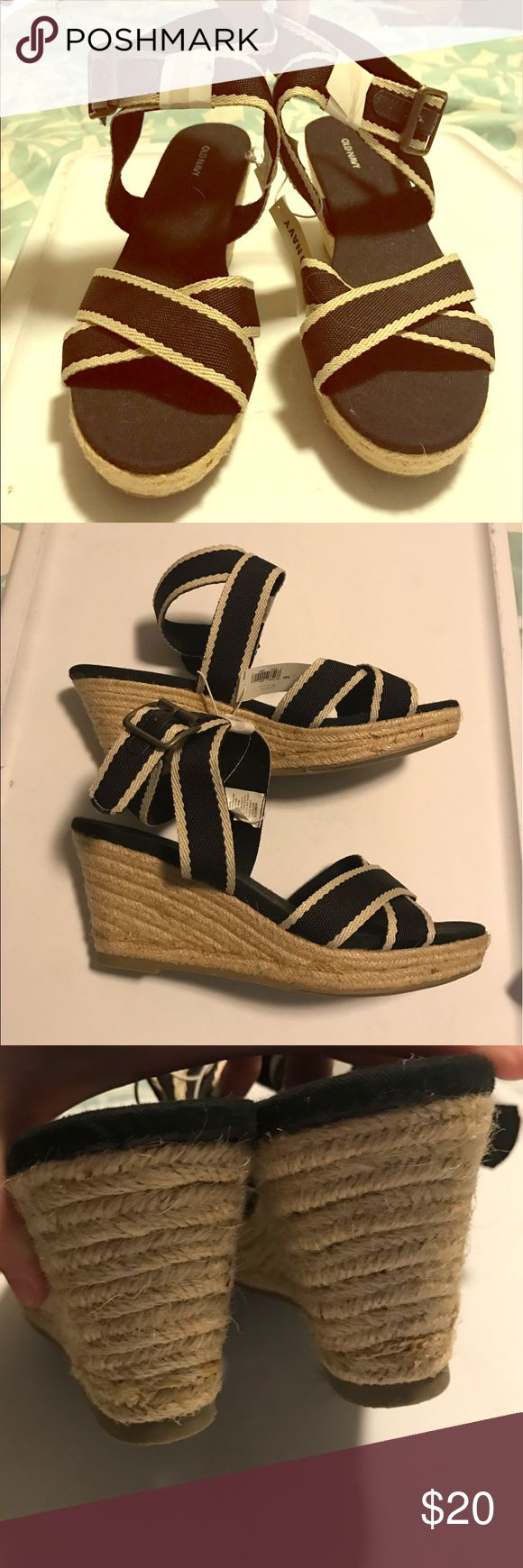 NWT black and white strappy wedge heels New with tags! Old Navy black and white wedge heels.  Rope like detail on heels. Really cute for summer. Excellent condition! Old Navy Shoes Wedges