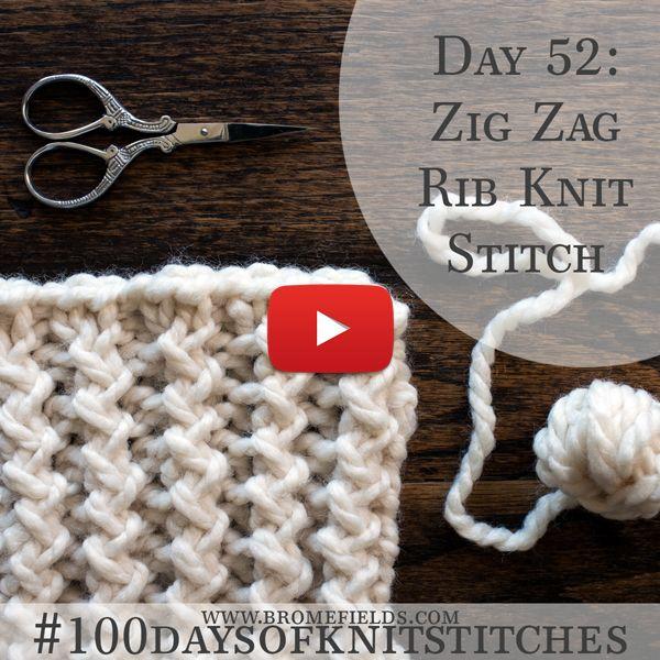 Day 52 : Zig Zag Rib Knit Stitch : #100daysofknitstitches – Myriam Klaus