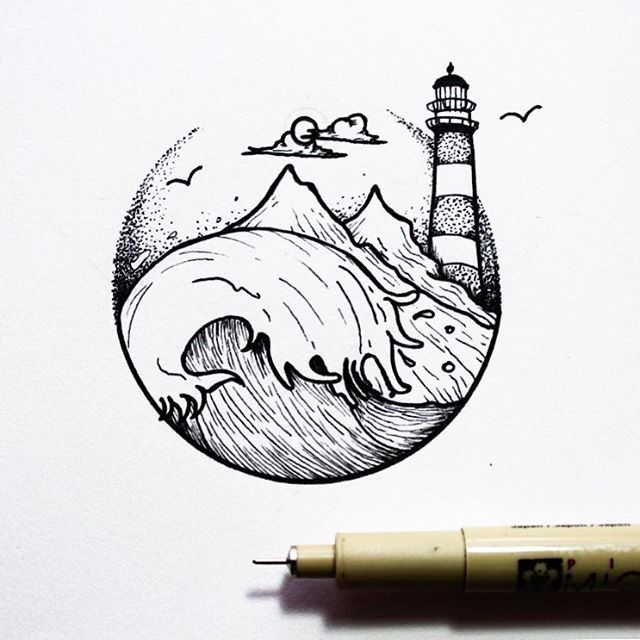 Image result for drawing a simple seascape