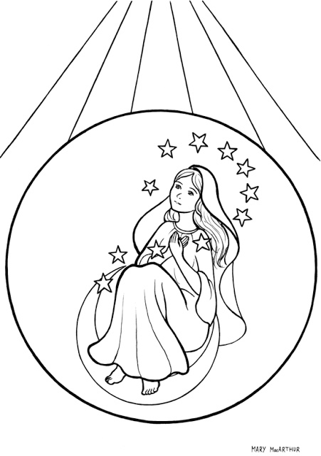 Immaculate Conception Catholic coloring page. Feast day is December 8th.