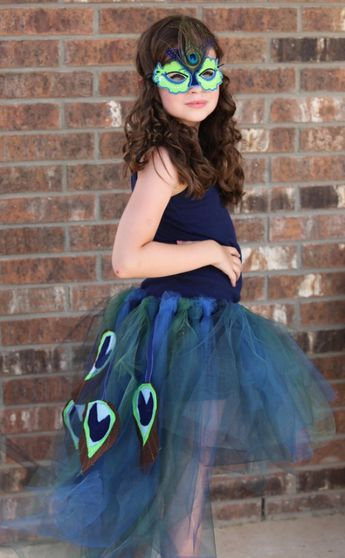 DIY carnival costume for girls organza skirt with artificial peacock feathers