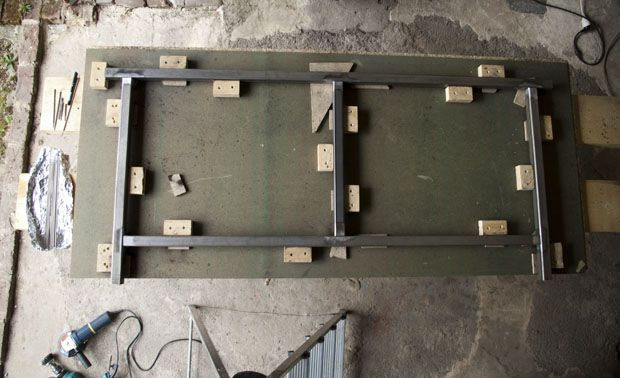Putting all the parts in the jig to make a section of the table